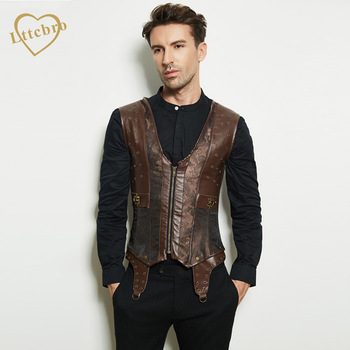 Mens Corset Steampunk Vest Shapers Brown Collar Sleeveless Steel Boned Gothic Corset Jacket Slimming Corsets For Men