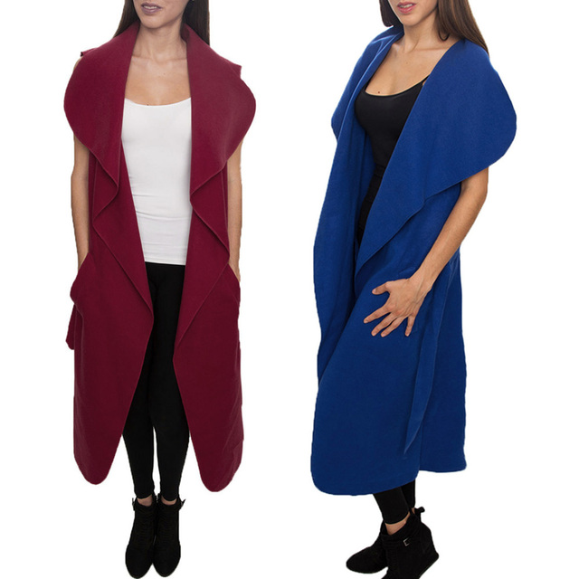 Fashion Women Winter Warm Oversized Sleeveless Jacket Long Trench Solid color Coat Parka Outwear Black/blue/burgundy