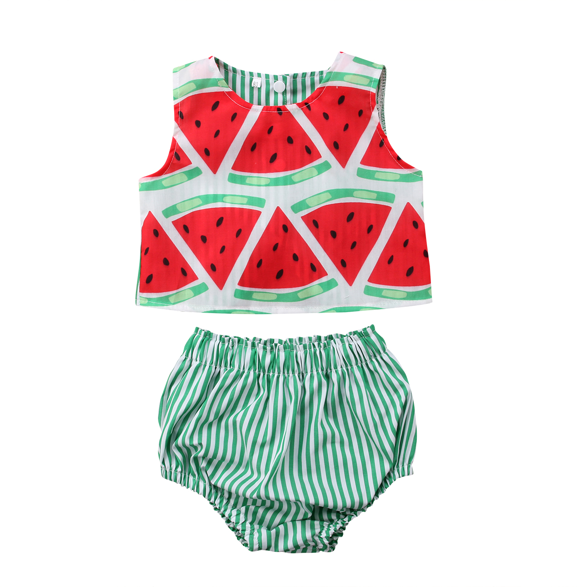 Newborn Kids Watermelon Clothing Set Baby Girl Crop Tops+Striped Short Summer Boho Outfit Clothes 2PCS Set