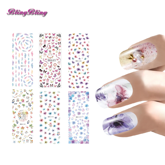 Blingbling Cartoon Water Transfer Nail Stickers Butterfly Feather Flowers Nail Art Mixed 6Sheets Sticker Decals Design For Nails