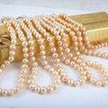 Nueva moda encantadora al por mayor precio 5 unids 7-8mm collar de perlas akoya rosado cuentas redondas mujeres cadena de bricolaje joyería 18 inch BV193