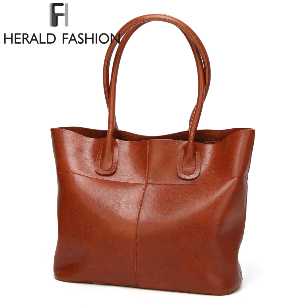 HERALD FASHION High Quality PU Leather Women Tote Bag Fashion Luxury Women's Handbags Top-Handle Bags Women Shoulder Bag bolsa kzni real leather tote bag high quality women leather handbags top handle bags purses and handbags bolsa feminina pochette 9057