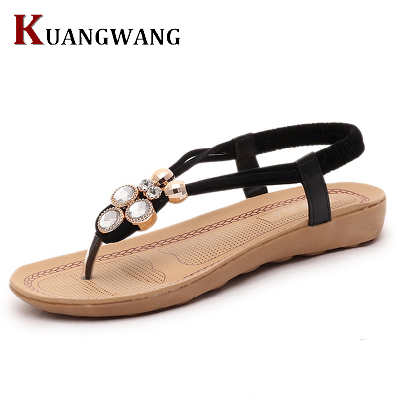 Women Sandals Summer Bohemia Style Beaded Crystal Pure Color Women Flats Flip Flops Fashion Casual Girls Shoes tanger so239 mini uhf female jack to sma male plug right angle with 20cm 8 rg316 rf coaxial pigtail low loss cable high quality