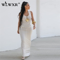WLWXR Casual Sexy Long Dress Womne Sundress 2019 Solid O Neck Club Party Bodycon Dress Female Ladies Summer Beach Maxi Dresses