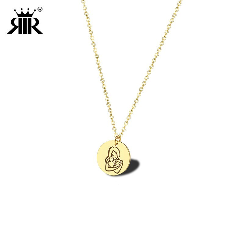 RIR New Mom Holding the Twins Necklaces Circle Pendant Breastfeeding Tribute Necklace Gift for a New Momma Mother of Twins Gifts image