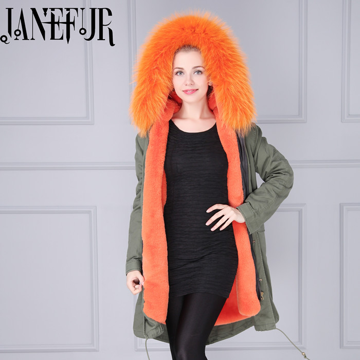 2016 New Lady Parkas Jacket Real Large Raccoon Fur Winter Coat Women Jacket Coats Collar Thicken Warm Padded Cotton Jacket