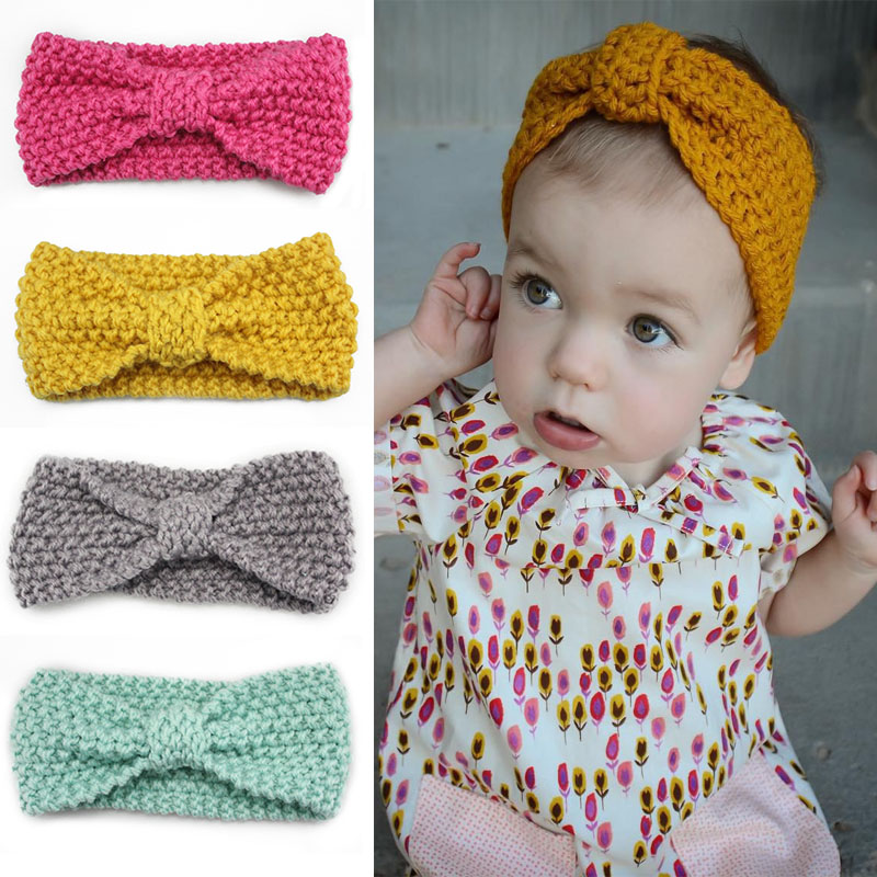 Knot Headband Bebe Girl Winter Crochet Newborn Head wrap Warmer Knitted Bow Hairband Hair Band Hair Bow Accessories 10 colors free shipping and hand customize new style20pcs blessing good girl modern style headband accessories hyacinth garland hair bow