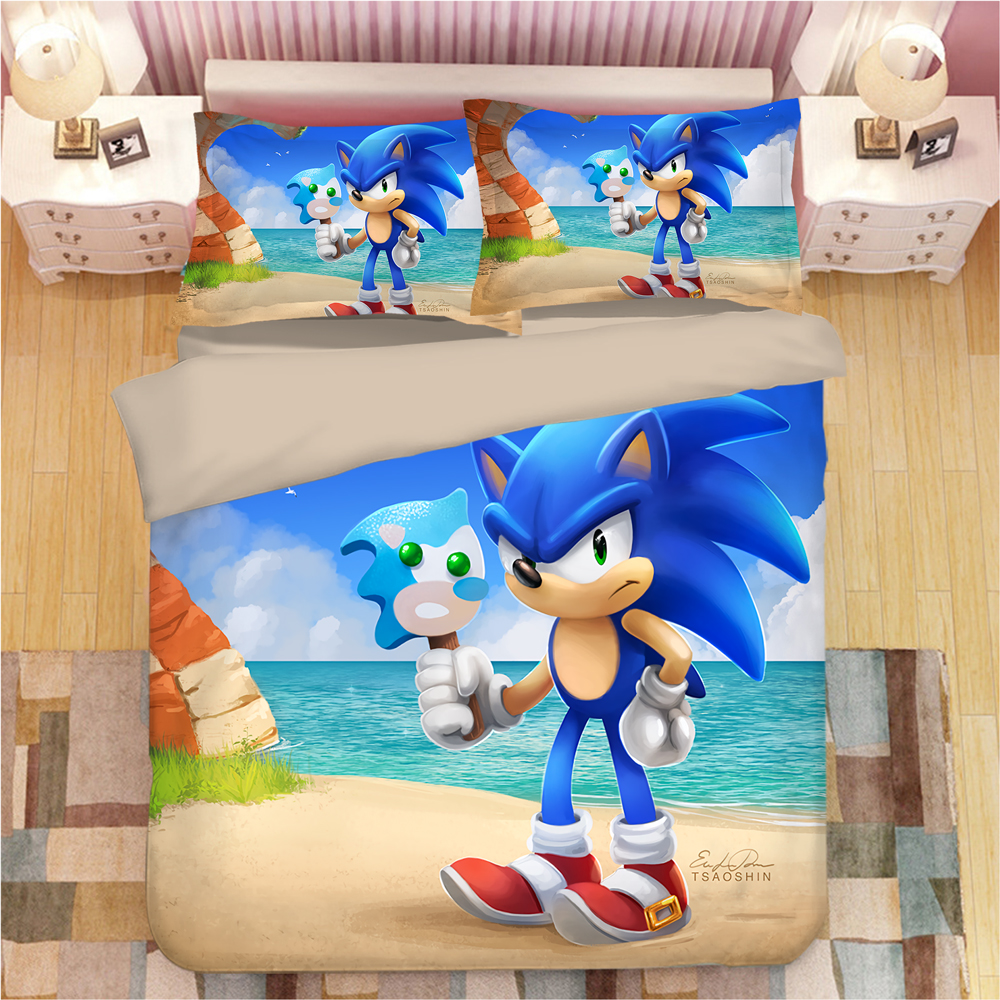 Sonic The Hedgehog Bedding Set Super Mario Bros Duvet Covers Pillowcases Twin Full Queen King Comforter Bedding Sets Bed Linen-in Bedding Sets from Home & Garden