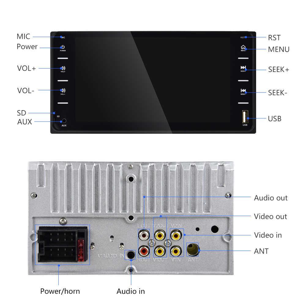 "AMPrime 7 ""Auto Radio Audio Radio 2din Touch Screen Auto Multimedia Bluetooth MirrorLink Android/IOS FM/AUX achteruitrijcamera MP5 Speler"