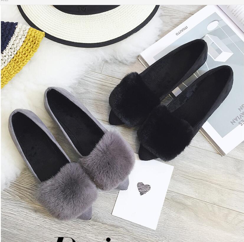 Джокер, тонкие туфли с закрытым носком, Женская удобная повседневная обувь на меху на плоской подошве