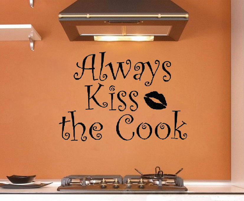 Cute Kitchen Wall Stickers Kiss Cook Wall Decals Vinyl Stickers Home Decor Living Room Wall Pictures
