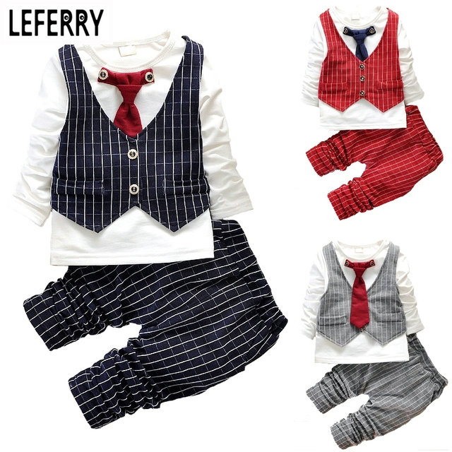 2016 Fashion Baby Boy Clothes Sets Gentleman Suit Toddler Boys Clothing Set Long Sleeve Kids Boy Clothing Set Birthday Outfits