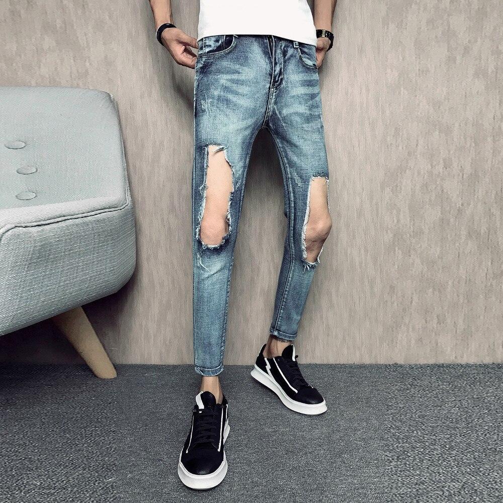 Summer New Ripped Jeans For Men Brand 2018 Slim Fit Ankle Length Big Hole Mens Jeans Simple Hip Hop Denim Men Trousers Blue Sale