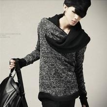 Autumn and winter men's shirt collar sweater slim Korean personality cone fashion men sweater