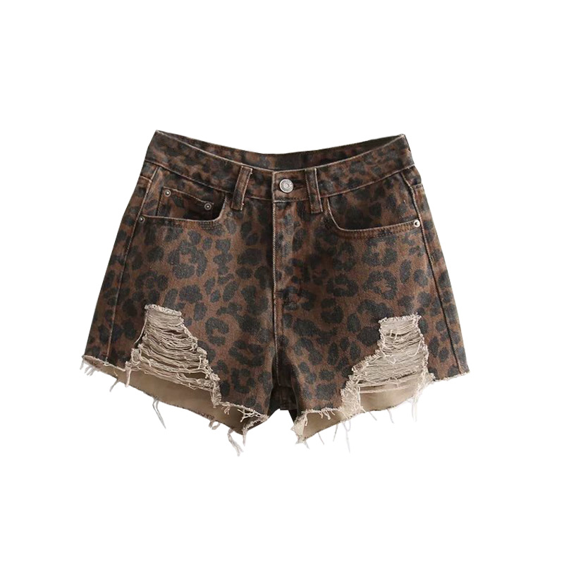 women leopard ripped short jeans high waisted fringe holes coffee denim shorts ladies summer vintage sexy mini korte broek dame