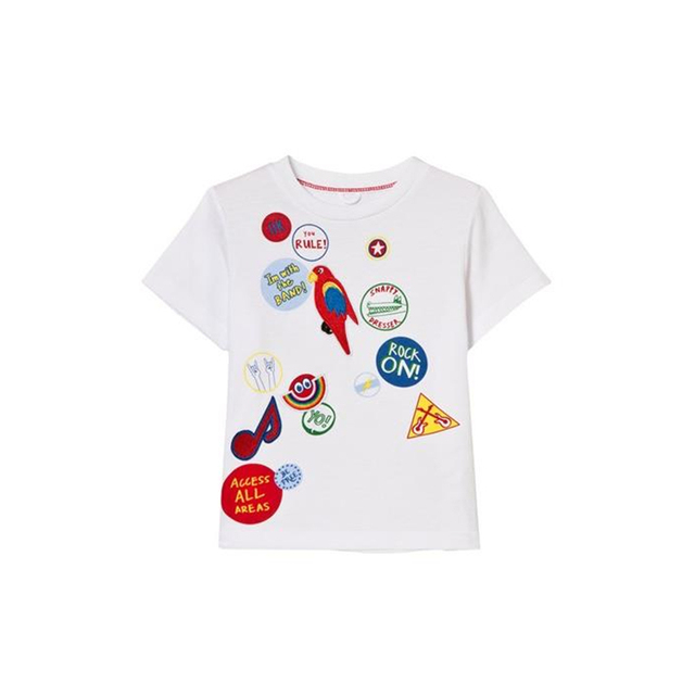BOBOZONE White Badge Print Arlo T-SHIRT  for baby  boys girls kids tee top pre-sale