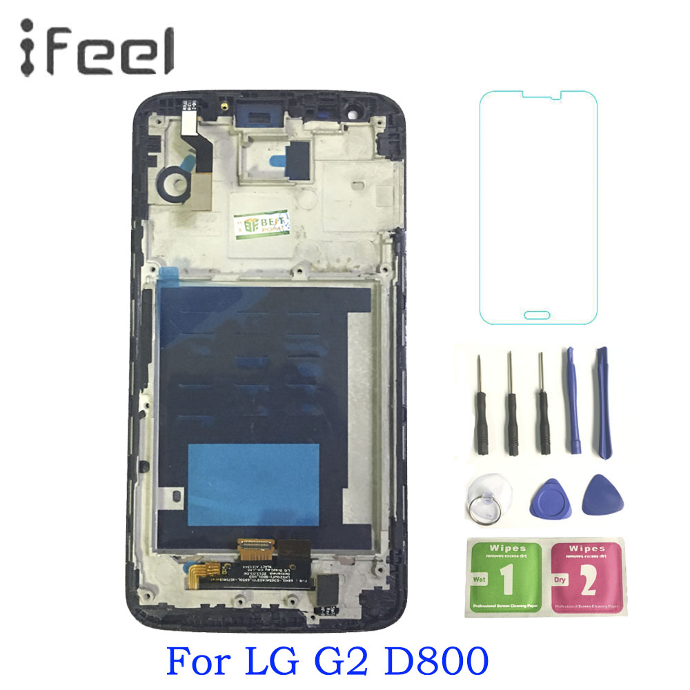 Per LG G2 D800 D802 Display LCD Touch screen + Digitizer Assembly con telaio Per LG G2 LCD Nero/ biancoPer LG G2 D800 D802 Display LCD Touch screen + Digitizer Assembly con telaio Per LG G2 LCD Nero/ bianco