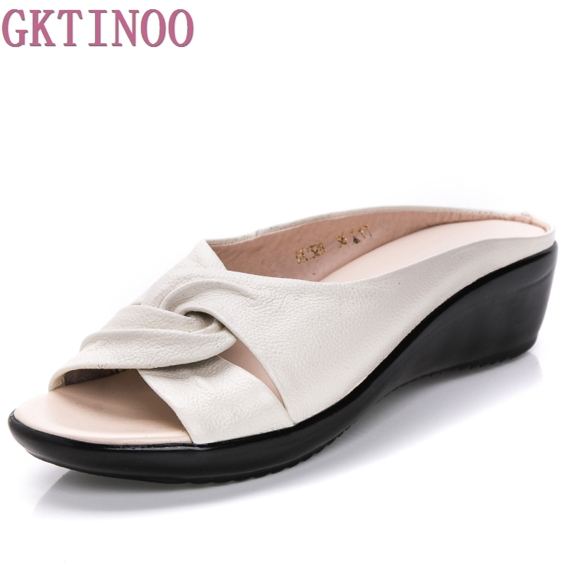 Leather Wedges Sandals Summer Comfort Mother Shoes Woman Flip Flops Slip On Flats Size 35 43