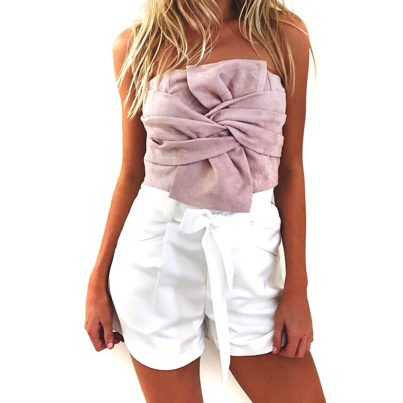 New Suede Sexy Women Tops 2017 Summer Bandage Off Shoulder Crop Top Backless Sexy Women Tops