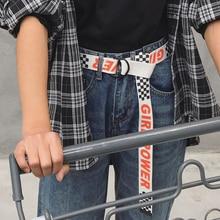 Повседневный тканевый ремень с буквенным принтом в горошек Harajuku для мужчин и женщин, модные джинсы с d-образным кольцом и пряжкой, поясные ремни белого и черного цвета, длина пояса 130 см, 30