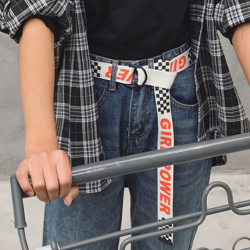 Casual Letter Dot Canvas   Belt   Harajuku Men Women Fashion Jeans D Ring Buckle Waist   Belts   off white Black 130Cm Long Waistband 30