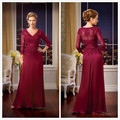 elegant burgundy Mother of the Bride Dresses 2016 3/4 sleeve appliques lace chiffon long formal evening gown for wedding party