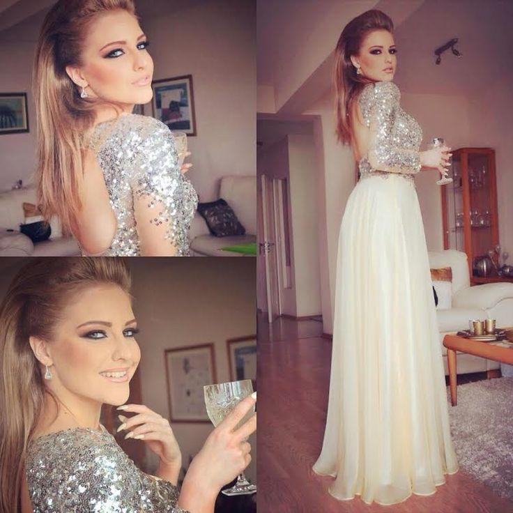 Arabic Sparkle Champagne Sequins Long Sleeve Evening   Dress   2015 Charming   Prom     Dresses   Open Back Dubai Robe De Soiree XYR169