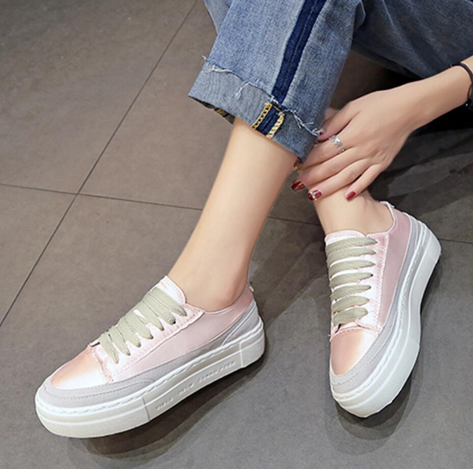 XWWDVV Spain niche shoes casual versatile canvas shoes new thick bottom flat white shoes women 44