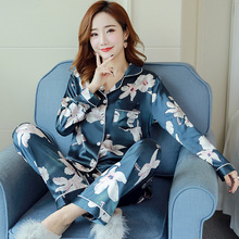 Women Pajamas Set Autumn New Thin Flower Printed Pijamas Sui