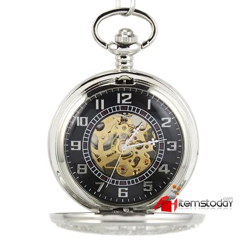 Silver Carved Butterfly Steampunk Gold Skeleton Men Women Pocket Watch Hand Winding AJIW2HS3341