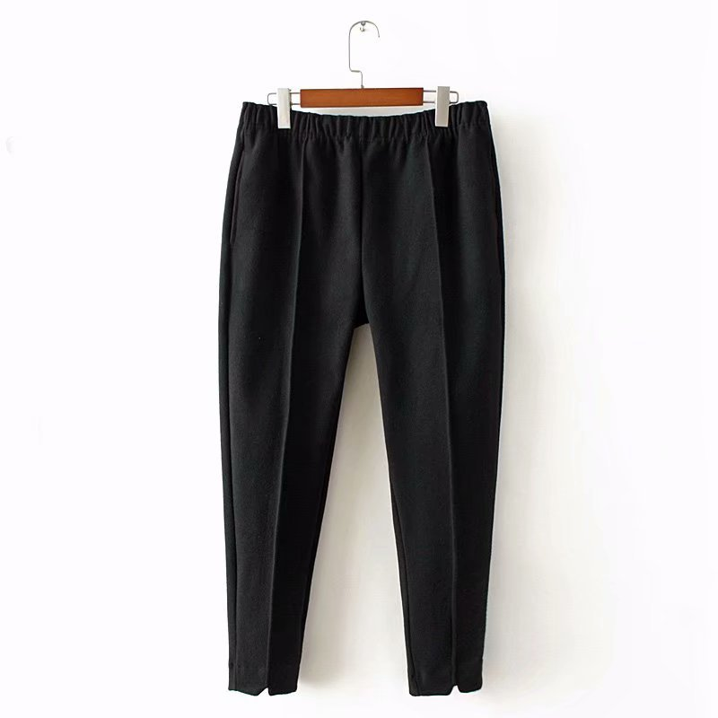 Woolen Pencil Pants Women Casual Elastic Waist Loose Stretched Plus Size Pants Elegant Trousers KKFY2974 in Pants amp Capris from Women 39 s Clothing