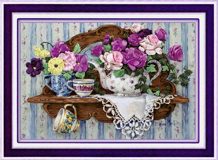 [super erbjudanden] Nålverk, DIY Ribbon Cross Stitch Sets för broderi kit, teaport blomma kärlek band Cross-Stitch vägg dekor