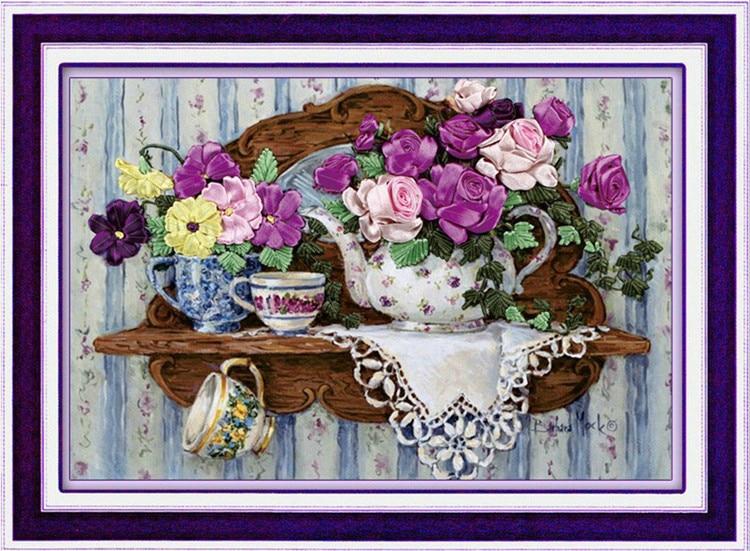[супер понуде] Ручни рад, уради сам за израду крижа од врпце за комплете за вез, Теапорт цветна љубавна врпца Цросс-Ститцх декор зидова