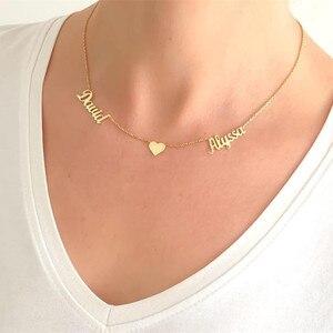 Image 3 - الخامس جذب الذهب مزدوجة أسماء القلب BFF قلادة مجوهرات مخصصة شخصية اسم قلادة للنساء الزفاف هدية BFF طوق Mujer