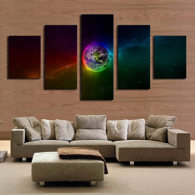 5 Panels Huge HD Beautiful Colorful Planet Top Rated Canvas Print For Living Room Wall