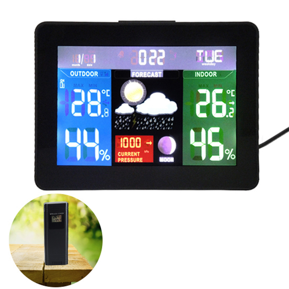 Wireless Sensors Weather Station Color Display Radio Controlled Clock 5 Weather Forecast Barometer RH% Temperature - 220V
