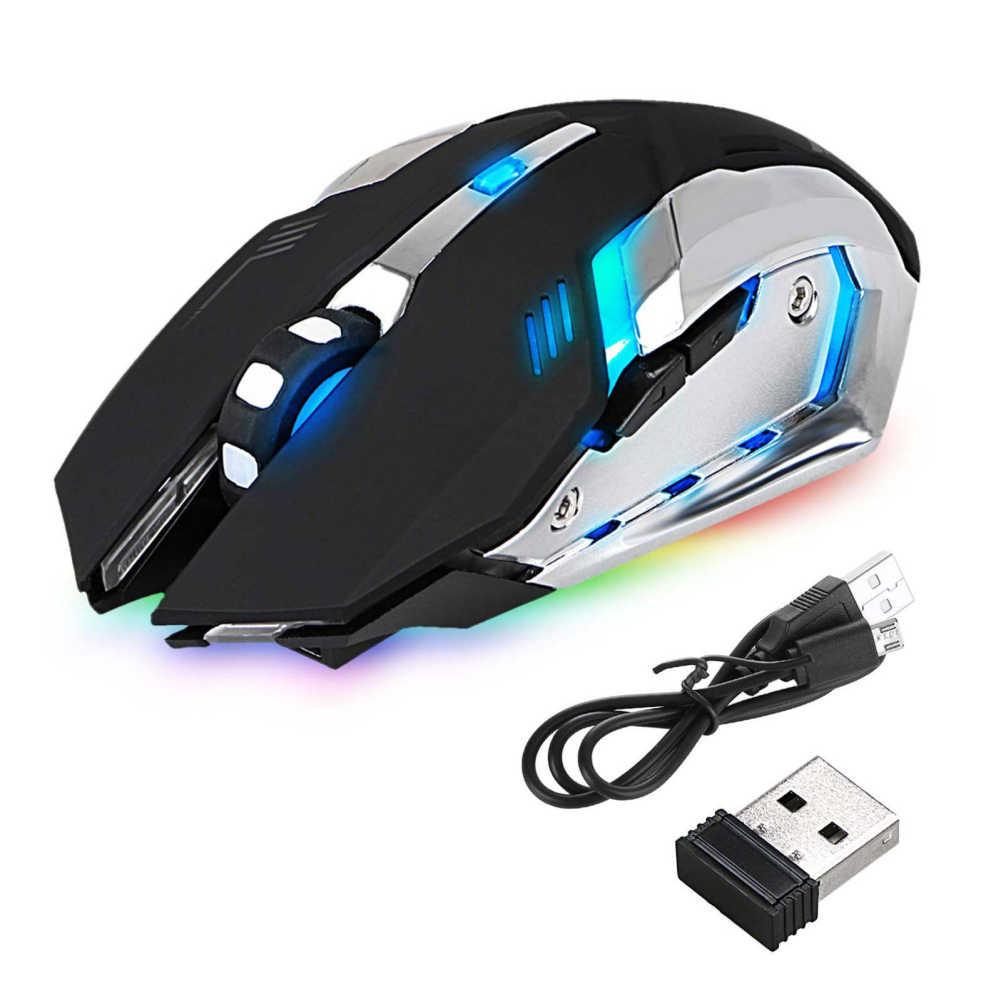 Isi Ulang X7 Wireless Gaming Mouse LED Backlight USB Optical Ergonomis Sem Fio Fashion Game Komputer Mouse untuk Pro Gamer