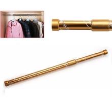 golden color Aluminium alloy carved telescopic wardrobe hanging rod minimum adjust length 55cm maximum 100cm easy install