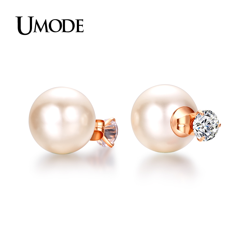 UMODE Luxury  Rose Gold / Rhodium plated Austrian Rhinestone & Simulated Pearl Stud Earrings For Women Jewelry AJE0253