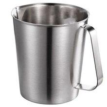 Толстая мерная чашка из нержавеющей стали со шкалой молочного мороза, кухонная форма для выпечки чая, жидкого молока, кофе, большая емкость, мерная чашка