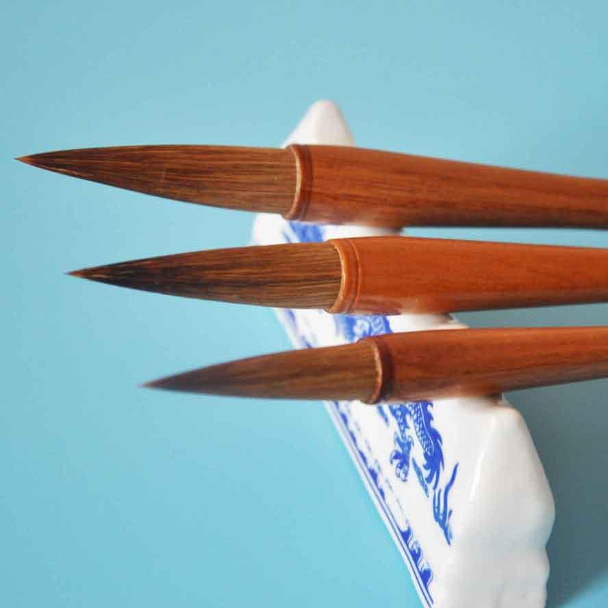 6 pcs/set Chinese Calligraphy Brush Set Weasel Wool hair Drawing Brush WaterColor Brush Art Supply Stationary Gift Pen Curtain