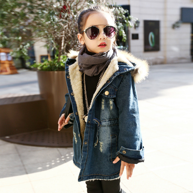 be6a3195f children jackets Girls Casual Denim Coats Hooded Faux Fur Collar ...