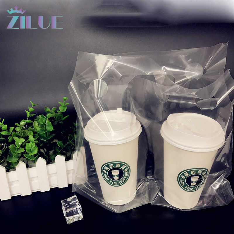 zilue 50pcs/Lot Translucent Single Cup Plastic Packaging Bag Takeout Packaging Takeaway Double Cup Bag Drink Decoration