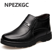 NPEZKGC New Handmade Men Genuine Leather Winter Boots High Quality Snow Men Boots Ankle Boots For Men Plus size 38-48