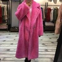 parka real fur women 2018 Natural Fur Coat Long Winter Jacket Famel Wool Sheep Shearing Fur Streetwear Oversize Thick outwears