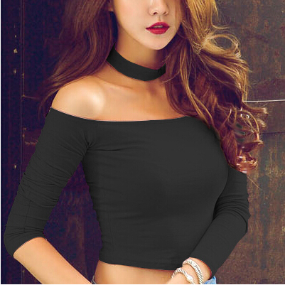 b23d8083240e0 Detail Feedback Questions about Top Quality Hot Sexy Women Crop Top Cutout  Turtleneck Tops Ladies Long Sleeve Tops Black Pink And White T Shirt on ...