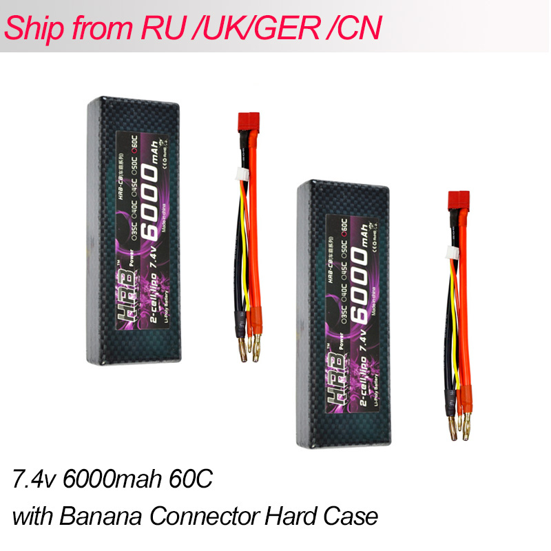2pcs HRB Hard Case RC Lipo 2S Battery 7.4V 6000mah 60C Max 120C Banana Connector AKKU For Remote Control Car Truck Quadcopter hrb hard case banana connector lipo 2s battery 7 4v 5500mah 35c max 70c rc drone akku for rc car traxxas 1 10 truck quadcopter