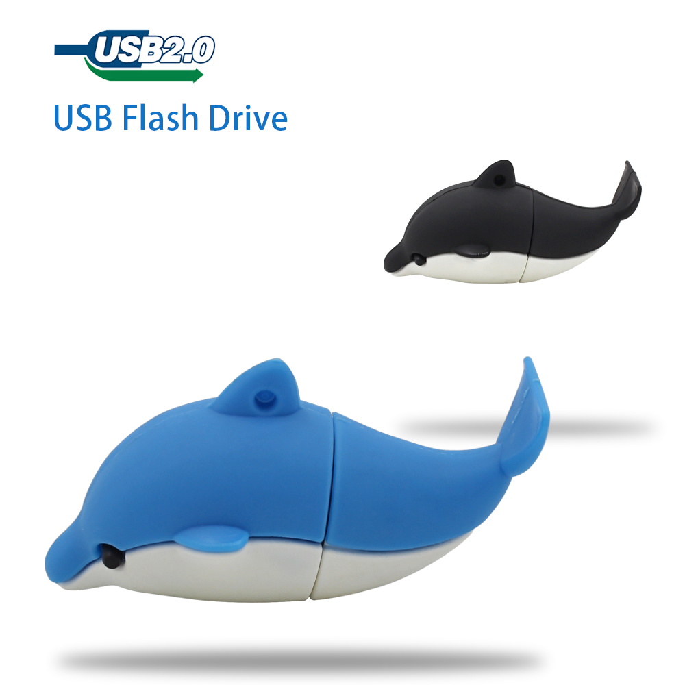 Cute Blue Dolphin Cartoon Model USB3.0 8-64GB flash drive memory stick pendrive