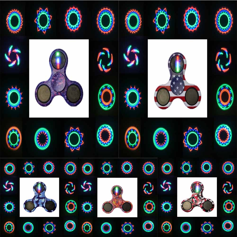 Colorful Finger Spinner LED Tri-Spinner Spiner Fidget Finger Spinner Toy For Autism and ADHD Anxiety Stress Spiner Toy