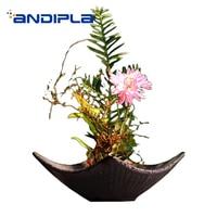 和風の生け花フラワーポットヴィンテージセラミック花ボウル/茶道装飾盆栽アート水耕植物花瓶テーブル花瓶